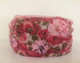 Pink Floral Pillbox Hat - Beresford Vintage Formal Hat