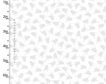 Gray & Off White Tiny Birds Fabric, Gray Bird Quilt Fabric, 3 Wishes Songbirds Collection 12237, Woodland Fabric, Gray Cotton Yardage