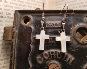 White Cross Mother of Pearl earrings