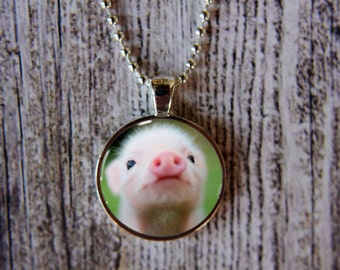 Pink Pig Necklace, Pink Pig Jewelry, Baby Pig Necklace, Pink Pig Pendant, Baby Pig Jewelry, Gift Under 15, Cute Pink Piggy