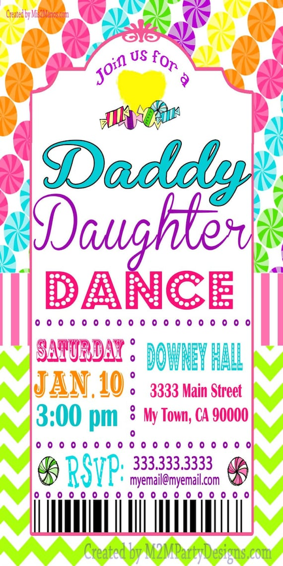 Daddy Daughter Dance Celebration Candyland Tickets Invitation