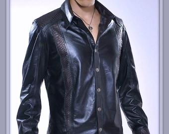Snake Lure - Men's leather shirt by Pentagram