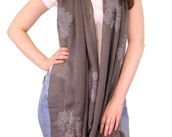 Monogrammed Grey Scarf for Women Silver Floral Embroidery Oversized Scarf Womens Scarves Ladies Wraps Shawls Bridesmaids Gift, Gift for Her