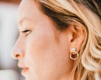 circle hoops   circle stud earrings   crystal hoops   raw gemstone hoops   amazonite earrings   circle drop earrings   brutalist earrings