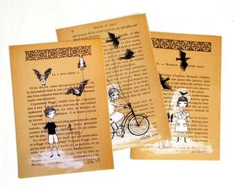Boy or Girl Walking Pets - Postcard, watercolor illustration, Black Birds, Bats