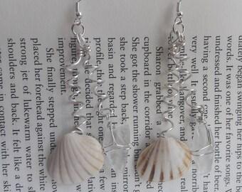 Wire Swirl Sea-glass & Shell Earrings