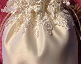 WEDDING BRIDAL Ivory Drawstring Bag w/ Ivory Double Lace, Keepsake/Heirloom Bag, Money Bag, Wedding Accessory, Special Occasion