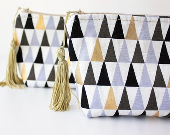 Zipper Pouch With Tassel, Essential Oil, Lipstick, Purse, Makeup Bag, Cosmetic Bag, Gifts for her, Gold, Monochrome, Teen Birthday, Medium