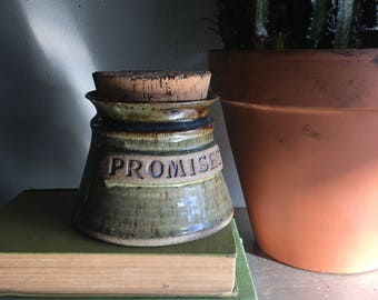 vintage studio pottery container cork lid Promises Different Drummer pottery moss green