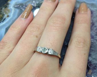 Art Deco Three Stone Diamond Bow Ring 1930's