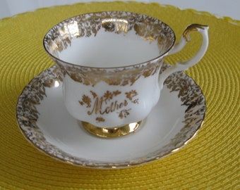 """ROYAL ALBERT """"MOTHER"""" Cup and Saucer.  Bone China.  Gold Pattern.  Made in England"""