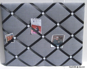 Black White Gingham Memory Board French Memo Board, Fabric Ribbon Bulletin Board, Fabric Photo Board, Home Decor, New Baby Gift