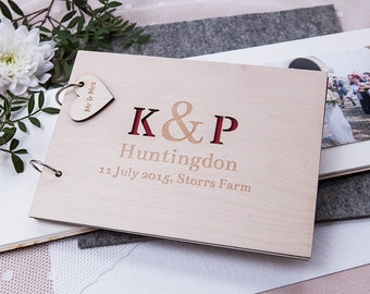 Personalised Initials Guest Book - Rustic Guest Book - Wooden Guest Book - Engagement Gift - Wedding Guest Book - Couples Gift - Keepsake