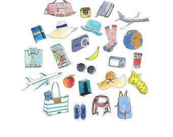 Travel Kit Illustration   Travel must have items   Watercolor illustration   Hand drawn   Digital download