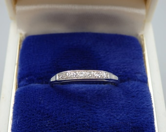 Vintage 1940's 18k white gold diamond wedding ring size 6