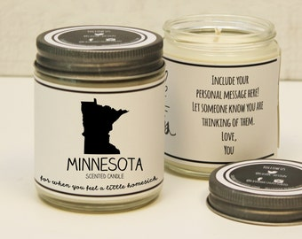 Minnesota Scented Candle - Homesick Gift | Feeling Homesick | State Scented Candle | Moving Gift | College Student Gift | State Candles