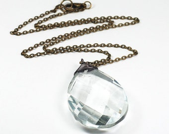 Crystal Necklace- Upcycled Vintage Prism Jewelry, Antiqued Brass Chain, Chandelier Crystal Pendant, Teardrop Necklace, Bohemian Necklace