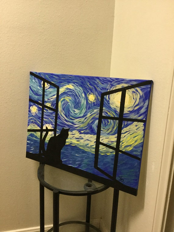 Glow in the Dark Cat painting starry night sky glowing Art Cat