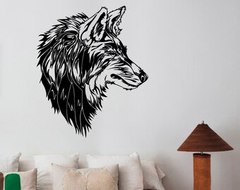 Wolf Wall Decal Removable Vinyl Sticker Wild Animal Nature Art Decorations for Home Housewares Living Room Bedroom Wildlife Decor wlf1