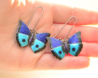 Large Vintage Blue and Black Enamel Guilloche Cloisonne Sterling Silver Butterfly Earrings