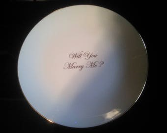 Vintage Proposal Plate - Engagement Plate - Will You Marry Me Plate - Wedding Plate Wedding Proposal Plate