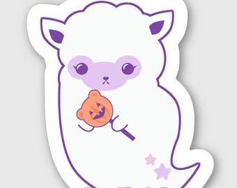 Spooky Alpaca Ghost Vinyl Sticker, Pastel Goth Sticker