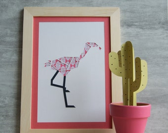Origami, deco pink Flamingo, flamingo poster poster, poster bird, wall decoration, poster A4, graphic style, décor paper cut hand