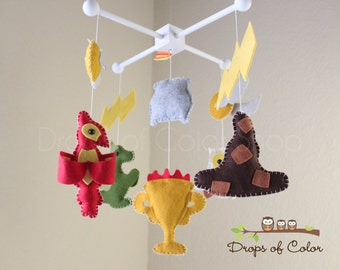 Baby Mobile - Baby Crib Mobile - Harry Potter Mobile - Nursery Harry Potter Mobile - Sorting Hat, Owl, Dragon, Cauldron / Magician Mobile