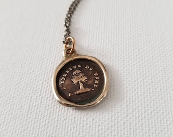 Bronze Steadfast - Antique Wax Seal Necklace - Yew Tree Test of time - antique French tree wax seal jewelry - 264