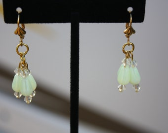 Vaseline Glass Dangle Earrings