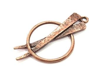 2 Copper Pendant Antique Copper Pendant Antique Copper Plated Metal (51x26mm) G11532