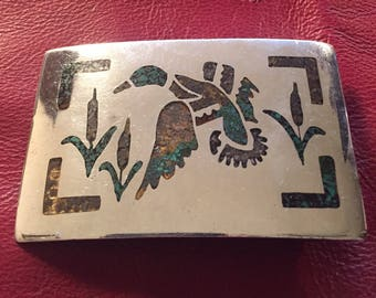 "Sterling Mallard Belt Buckle  56 Grams Silver.       3 1/8"" x 2""                              Inlaid crushed Turquoise  & Coral"