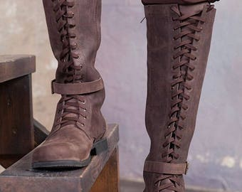 Knee high mens boots / Lace up medieval leather boots / Cosplay leather shoes