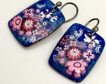 Copper Enameled Jewelry, Pink and Violet Blue Enamel Earrings, Romantic Flower Design, Vitreous Enamel Dangles, Ready to Mail, WillOaks