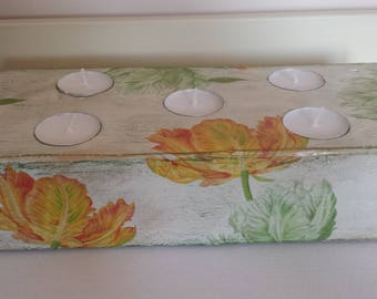 Tea Light Holder, Candle Holder, Decoupage, Shabby Chic, Floral, Tulips, Reclaimed Wood, Wood Candle Holder, Candlestick, Christmas Gift