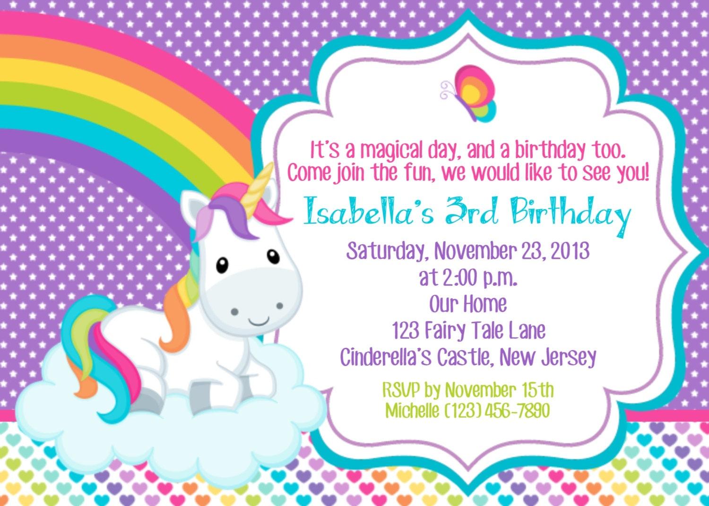 Unicorn Invitation Personalized Custom Unicorn Rainbow