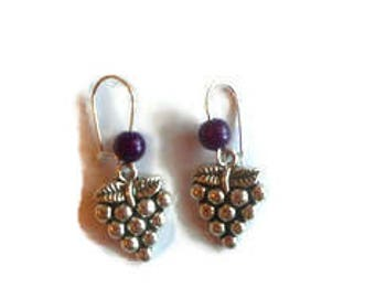 Pendants silver grape cluster earrings, purple beads / gift / birthday / party