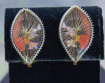 Orange, Brown Clip Earrings, Gold tone, Vintage, Lightweight (E7)