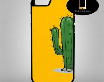 Simple Cartoon Cactus Minimilist Pop Art Quirky Cool iPhone Silicone/Rubber Phone Case Cover For iPhone 4/4s, 5c, 5/5s/Se, 6/6, 7, 8 and X