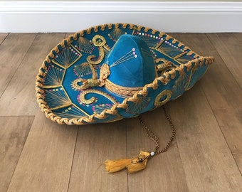 Vintage Pigalle XXXXX Turquoise and Gold Mexican Sombrero Hat