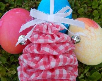 Pink and White Gingham Yo Yo Egg Ornament