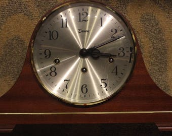 Vintage Early-to-Mid 20th Century Devon-Brand Manufactured Wooden Mantel Clock w/ Winding Key (West Germany)