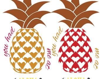 Hearts Pineapple - Had Me at Aloha Cut File