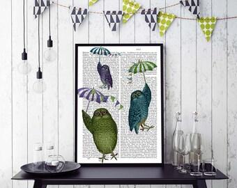 Owl Print Umbrellas owl nursery decor Owl décor Owl illustration owl nursery art woodland owl wall art Woodland nursery decor Cute animal