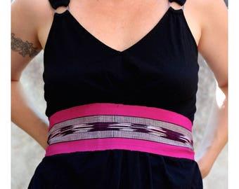 Magenta Pink Sash, SA05 - Bohemian Belt - Gypsy Clothing - Guatemalan Textiles - Hot Pink Sash Belt - Black and White Ikat Fabric