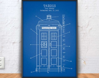 TARDIS poster, tardis printable, tardis blueprint, tardis patent print, sci fi decor, doctor who illustration, movie printable, bbc, #1327