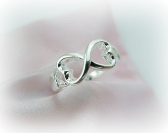 Love Infinity Ring - Custom Infinity Ring - Heart Infinity ring - Love knot Infinity Ring - Love Infinity Ring Sterling Silver