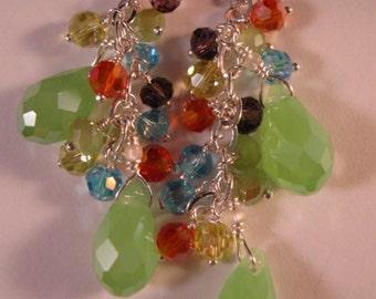 Crystal Cluster Earrings,crystal earrings,drop earrings,dangle earrings,cluster earrings,silver earrings,crystal cluster earrings,cluster
