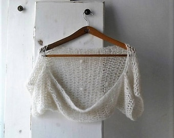 Off white crochet wedding shrug, bolero, alpaca and silk shrug