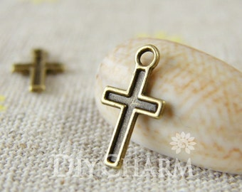 Antique Bronze Cross Charms 11x7mm - 100Pcs - DC23300
